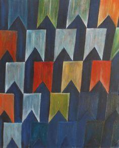 Óleo sobre tela <br>50 x 40 <br>Releitura do quadro Alfredo Volpi <br>Sem moldura. <br>Pronta entrega