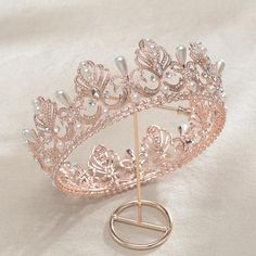 Your place to buy and sell all things handmade Cute Jewelry, Hair Jewelry, Rose Gold Jewelry, Gold Wedding Crowns, Crown Aesthetic, Princess Jewelry, Princess Crowns, Rose Gold Pearl, Gold Tiara