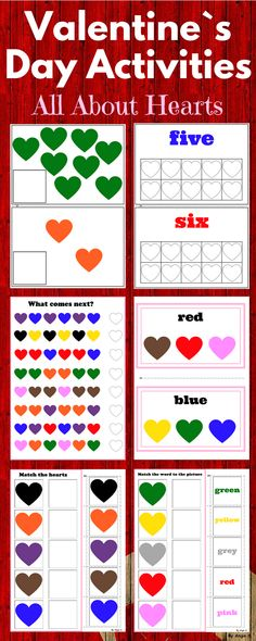 Valentine`s Day Activity - All About Hearts, February Activity for students with special needs,pre-K, kindergarten and preschool. #february #valentinesday #valentine #colors #heart #activities #autism #kindergarten For more resources follow https://www.pinterest.com/angelajuvic/autism-and-special-education-resources-angie-s-tpt/