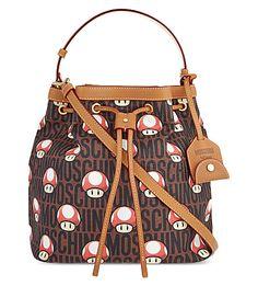MOSCHINO Super Moschino Mushroom Bucket Bag. #moschino #bags #shoulder bags #leather #bucket