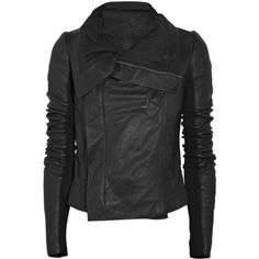 Rick Owens Leather biker jacket (6.410 BRL) ❤ liked on Polyvore featuring outerwear, jackets, tops, coats, leather biker jacket, moto jacket, leather jackets, genuine leather jackets and leather moto jacket