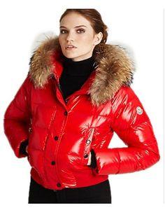 Moncler Alpin Classic Eider Down Jackets Women Fur Collar Red