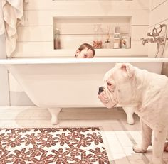 latest thought for the #bathroom since I can't afford tile up the wall = #shiplap I love this #tile floor too.