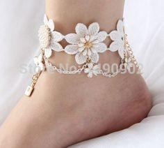 Бесплатная доставка пляж свадьба кот крючком свадебные босиком сандалии, ню обувь, футов ювелирные изделия, викторианской кружева, свадебные ножной браслет