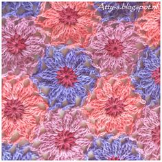 Atty's : Sunkissed Flower Tutorial -includes step-by-step photos of making the motif and joining them as-you-go. Grannies Crochet, Love Crochet, Crochet Motif, Crochet Shawl, Crochet Stitches, Crochet Afghans, Crochet Blocks, Crochet Squares, Crochet Flower Patterns