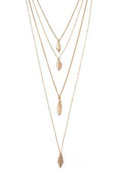 Leaf Pendant Layered Necklace #accessorize