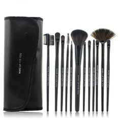 12 pcs Makeup Brush Kit With Black Case (50 BRL) ❤ liked on Polyvore featuring beauty products, makeup, beauty, косметика, black kit, kohl makeup, black makeup e black beauty products