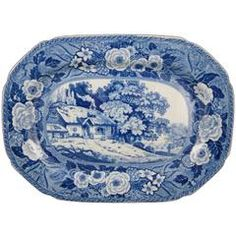 Minton English Staffordshire 'Monk's Rock' Blue Transferware Platter, circa 1820