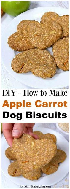 How to make Apple Carrot Dog Biscuits is an easy recipe. Homemade dog biscuits are the perfect hostess gift or stocking stuffer for your dog-loving friends. Dog Treats Grain Free, Diy Dog Treats, Healthy Dog Treats, Healthy Pets, Puppy Treats, Healthy Hair, Dog Biscuit Recipes, Dog Treat Recipes, Dog Food Recipes