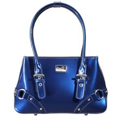 Mine... All Mine (Marina Blue) || Dimensions: 11.5″L x 3.25″ W x 7.25″ H - Strap Length: 6″ – 8″ - Opening: 6″ - Trim Colors: None - SRP: $119.00 - Available In: Lipstick Red, Chocolate, Marina Blue, Fuchsia, Teal, Ebony