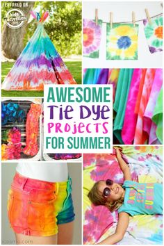 Jul 2019 - Summer is the perfect time for tons of tie dye projects. They are fun and easy for kids of all ages! Check out these Awesome Tie Dye Projects for Summer! Tye Dye, Fête Tie Dye, Tie Dye Party, Kids Tie Dye, Diy Crafts For Kids, Projects For Kids, Fun Crafts, Diy Projects, Craft Ideas