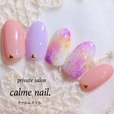 ネイル たらしこみ ピンク 紫 夏