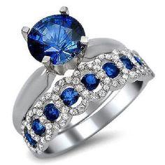 2Ct Blue Sapphire & Sim Diamond Engagement Ring Bridal Set 14K White Gold fn 925 #Jewelsbyeanda #SolitairewithAccents #EngagementWeddingAnniversaryPromise