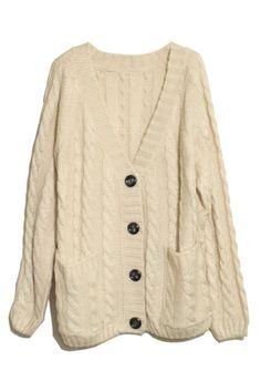 Vertical Plait Crochet Cream Cardigan
