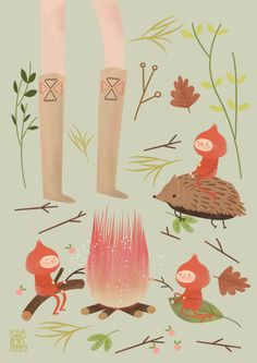 Art Print Illustration Print 11.7 x 8.3 garden por pai and pear