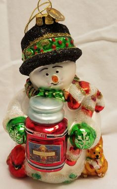 Vintage Christmas Ornament Yankee Candle Snowman Black Hat Blown Painted Glass #YankeeCandle