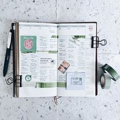 TN: 10 / 52 🗓 ================ Traveler's Notebook - Regular (Camel) Sarasa Clip 0.5mm - Vintage Green Black Classiky Washitape - Collage Grid Washitape - Green