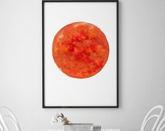 Sun Art Red Orange Watercolor Painting, Sunshine Minimalist Wall Decor, Luminous Particular Abstract Print, Sun Home Decor, Astronomy Poster