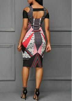 Printed Cutout Back Cold Shoulder Dress African Wear Dresses, Latest African Fashion Dresses, African Print Fashion, African Attire, Women's Fashion Dresses, Moda Afro, African Print Dress Designs, African Traditional Dresses, Classy Dress