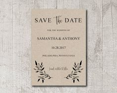 Printable Save The Date Card Template Peach Botanical Modern