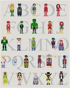 A=Aquaman, B=Batman, C=Cyclops, D=Daredevil, E=Elektra, F=Flash, G=Green Lantern, H=Hulk, I=Iron Man, J=Jean Grey, K=Kilowog, L=Logan, M=Martian Manhunter, N=Nightcrawler, O=Oracle, P=Power Girl, Q=Quicksilver, R=Robin, S=Spiderman, T=Thor, U=Union Jack, V=Vision, W=Wonder Woman, X=Professor Xavier, Y=Yellowjacket, Z=Zatanna