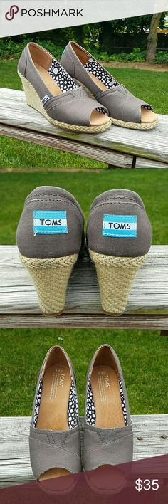 Authentic TOMS Open/Peep Toe Wedges Authentic TOMS Open/Peep Toe Wedges Worn only once In excellent like new condition  Please ask any questions before purchase.  Price is firm. TOMS Shoes Wedges