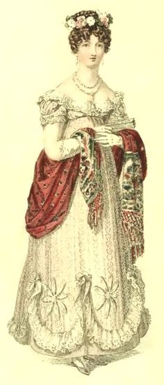 Regency Era Fashion Plate - June 1819 Ackerman's Repository London Fashions Morning Dress A round dress of thick haconot muslin: the bo...