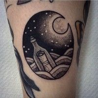 Little black ink circle shaped tattoo on forearm stylized with swimming bottle
