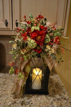 Red Poppy and Hummingbird Lantern Swag by kristenscreations Christmas Lanterns, Christmas Centerpieces, Christmas Decorations, Holiday Decor, Lanterns With Flowers, Lanterns Decor, Lantern Centerpiece Wedding, Floral Centerpieces, Thanksgiving Tree