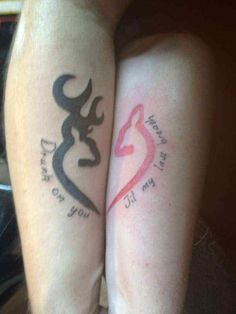 "Nothing says, ""I'll love you forever"" like matching buck and doe Browning tattoos. Or  at least I'll love you until you get shot."