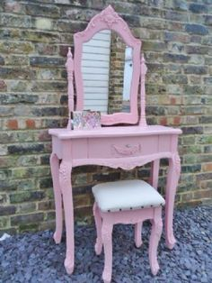 Sophie - Pink Shabby Chic Style Dressing Table & Stool Set