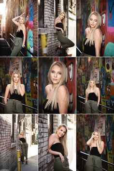 Urban Chic senior outfit in grungy ally with mural. Black tube top, dress slacks and heels. Photography Senior Pictures, Senior Girl Poses, Girl Senior Pictures, Portrait Photography Poses, Photography Poses Women, Portrait Poses, Senior Girls, Girl Photos, Senior Picture Poses