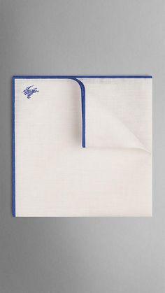 Contrast Edge Linen Pocket Square | Burberry