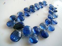 1/2 Strand--Ink Blue Kyanite Faceted Pear Briolettes. $39.99, via Etsy.