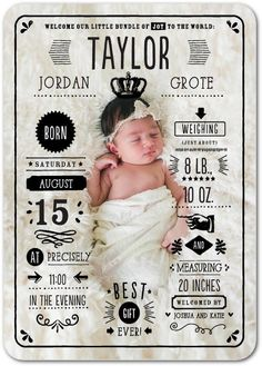 This numbers birth announcement says it all. Give them all the little measurements to celebrate your bundle of joy.