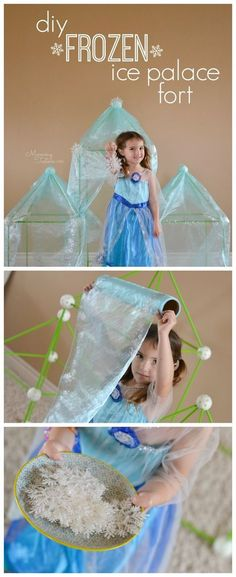 OMG how much fun is this Disney FROZEN DIY Ice Palace ?  The perfect fort for an FROZEN loving child and they can even watch the movie from inside since it's transparent! #DisneyFrozen