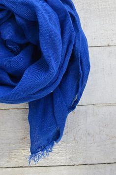 Pure linen scarf blue women men summer spring shawl by Linaraart