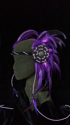 Purple EL Wire Light Up Tribal Headdress by DraftedEminence, $150.00