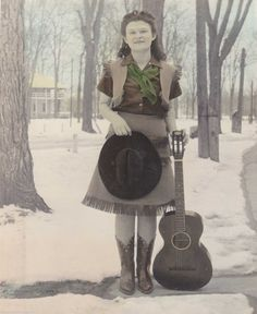 C 1930's Cowgirl w Guitar in Snow 8x10 Lightly Color Tinted Glossy Photo | eBay