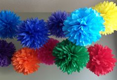 Rainbow Bright Deluxe - 10 Tissue Paper Pom Poms - First Birthday Decoration Party - Candy Bar Backdrop - Newborn Photography. $30.00, via Etsy. - think dining room ceiling, wall by TV