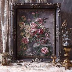 Stencil Painting, Texture Painting, Cold Porcelain Flowers, Plaster Art, Sculpture Painting, Paris Art, Romantic Roses, Arte Floral, Mixed Media Canvas