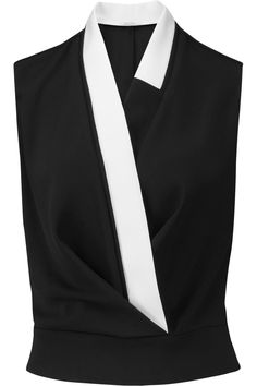 CARVEN Two-Tone Wrap-Effect Crepe Top. #carven #cloth #top