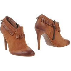 Raparo Shoe Boots ($150) ❤ liked on Polyvore featuring shoes, boots, ankle booties, brown, brown stiletto boots, stiletto booties, round toe boots, brown leather boots and brown ankle booties