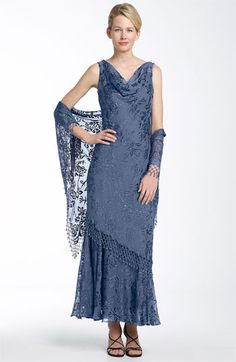 Alex Evenings Floral Burnout Gown with Shawl