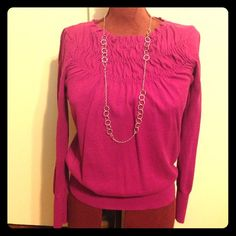 LOFT long sleeve top A beautiful raspberry color. Gathering/shirring detail across the top. Cute with jeans or dressier pants for a  business casual workplace. LOFT Tops