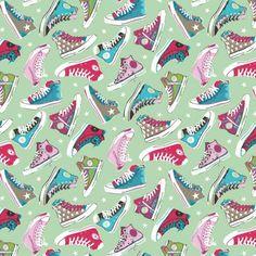 Katoen Poplin, sneaker paradise mint, kinderstoffen lente / zomer collectie 2016 van B* Inspired by Poppy. De leukste en hipste modestoffen shop je via Stoffen