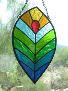 beautiful peacock feather stained glass