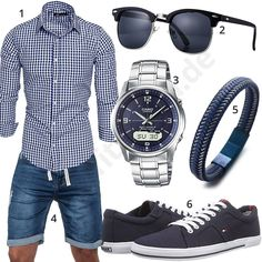Casual summer outfit for men with plaid Amaci & Sons shirt, Sublevel jeans shorts, blue Halukakah bracelet, dark blue Tommy Hilfiger sneakers, sunglasses and Casio wireless solar clock. Stylish Mens Outfits, Casual Summer Outfits, Tommy Hilfiger Sneakers, Mode Man, Herren Style, Herren Outfit, Mens Clothing Styles, Men Casual, Menswear