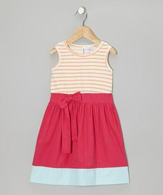 Take a look at this Tropical Punch & Bright Rose Stripe Bow Dress - Toddler & Girls by Aimee & Amelia on #zulily today!