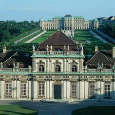 Castle Belvedere in Vienna, Austria -  summer palace of Prince Eugene of Savoy, built by Johann Lukas von Hildebrandt between 1721 to 1723. View from the Upper Belvedere and the Schlosspark